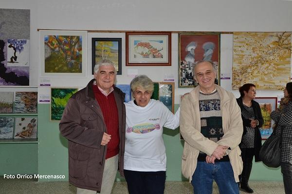 Angelo Parri Sindaco di Mercenasco,  Nicoletta Viali e Ivano Bardini curatore evento