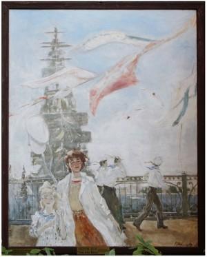Festa della Marina Nikolaj Repin anni 1980 Russia h 150 cm x l 120 cm acrilico su fibracemento Via Cesare Balbo, 29 Torre Canavese comune di Torre Canavese